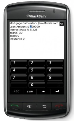 Mortgage Loan Payment Calculator Professional for Blackberry