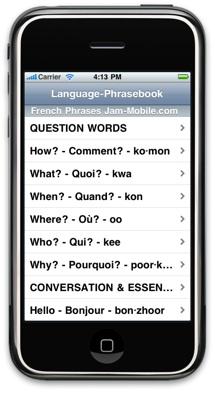 English-French Language Translator Phrasebook - Jam-Mobile.com